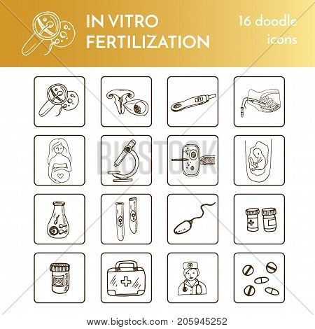 In vitro fertilization collection Vector isolated Illustration on white background for menus, recipes and packages product