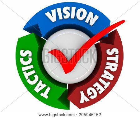 Vision Strategy Tactics Planning Process Arrows 3d Illustration