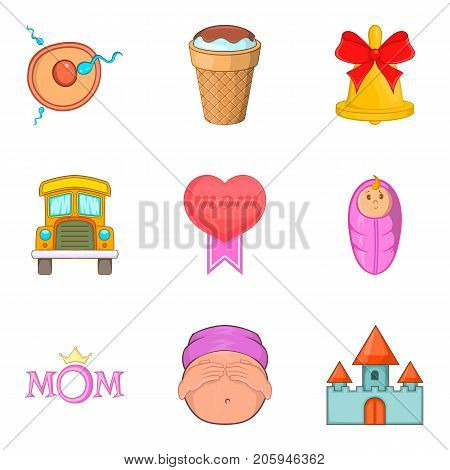 Loving mom icons set. Cartoon set of 9 loving mom vector icons for web isolated on white background