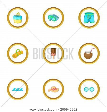 Sea weekend icons set. cartoon style set of 9 sea weekend vector icons for web design