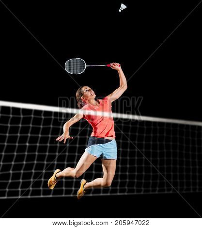 Young woman badminton player isolated (with net version)