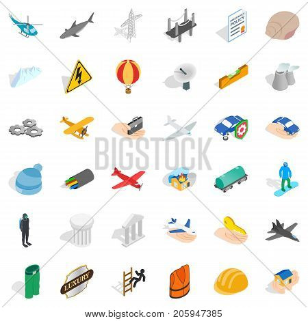 Shell icons set. Isometric style of 36 shell vector icons for web isolated on white background