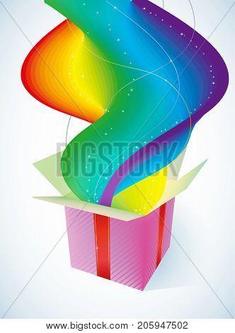 Gift box with rainbow