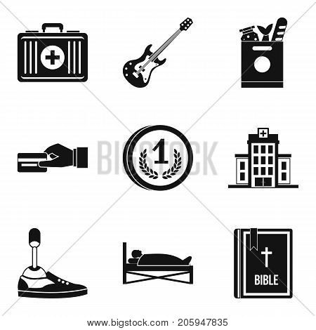 Free medicine icons set. Simple set of 9 free medicine vector icons for web isolated on white background