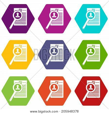 Magnifying glass over curriculum vita icon set many color hexahedron isolated on white vector illustration