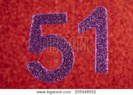 Number fifty-one purple over a red background. Anniversary. Horizontal