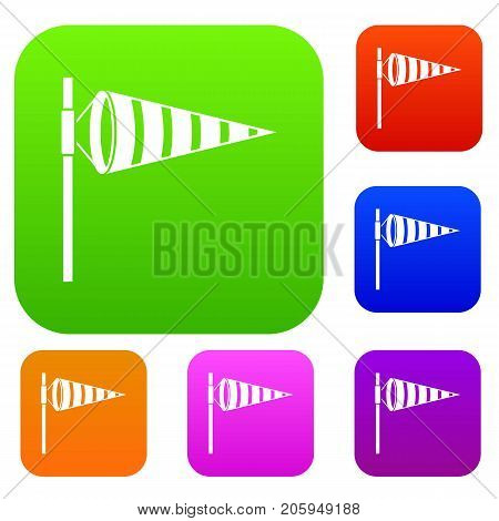 Meteorology windsock inflated by wind set icon color in flat style isolated on white. Collection sings vector illustration