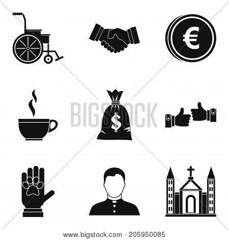 World philanthropy icons set. Simple set of 9 world philanthropy vector icons for web isolated on white background