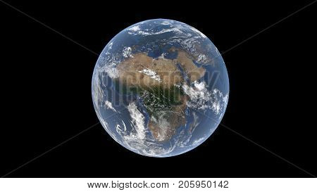 Europe and Africa behind the clouds on a realistic globe isolated Earth on a black background 3d rendering the elements of this image are furbished by NASA