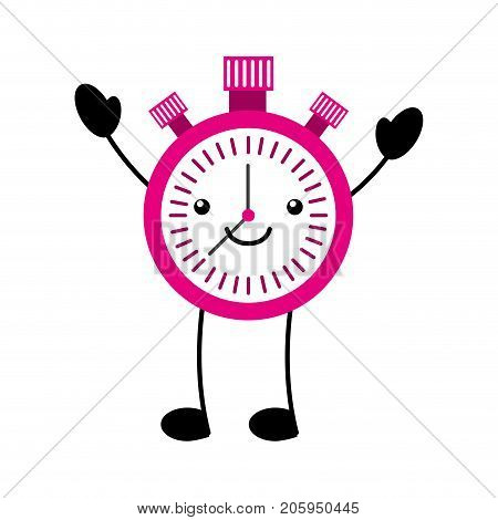 kawaii chronometer speed timer cartoon vector illustration