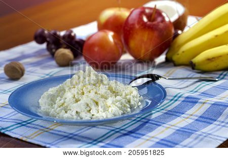 healthy useful cottage cheese breakfast with fruit