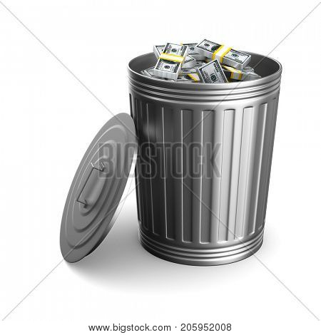 Garbage basket with dollars on white background. Isolated 3D illustration