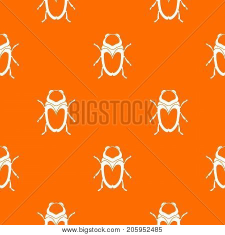Scarab beetle pattern repeat seamless in orange color for any design. Vector geometric illustration