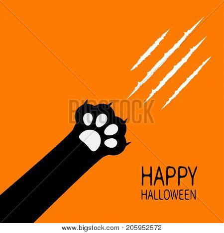 Happy Halloween. Bloody claws animal scratch scrape track. Black cat scratching paw print leg foot corner. Cute cartoon character silhouette. Baby pet collection. Flat design. Orange background Vector