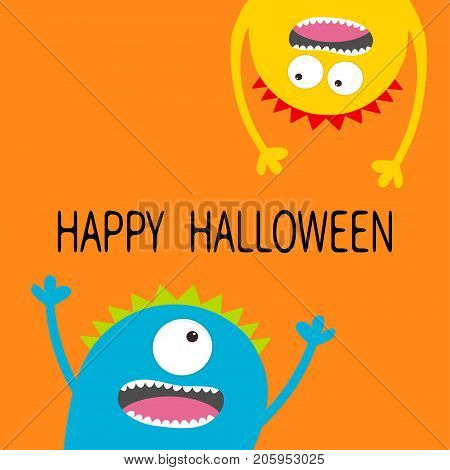 Happy Halloween card. Two screaming monster head silhouette set. Eyes teeth tongue hands. Hanging upside down. Funny Cute cartoon character. Baby collection. Flat design. Orange background. Vector