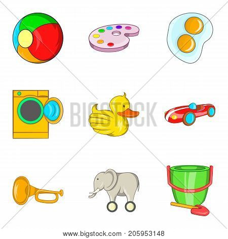 Rare toy icons set. Cartoon set of 9 rare toy vector icons for web isolated on white background