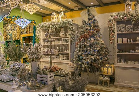 VETRALLA, ITALY - SEPTEMBER 23, 2017: The reign of Santa Claus is a shop with christmas objects and decorations in Lazio