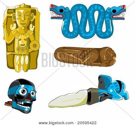 Aztec and Maya sculptures and mask.