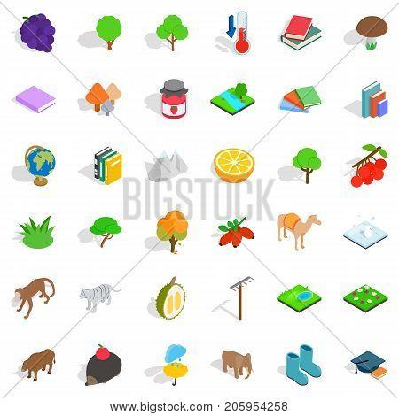 Zoology icons set. Isometric style of 36 zoology vector icons for web isolated on white background