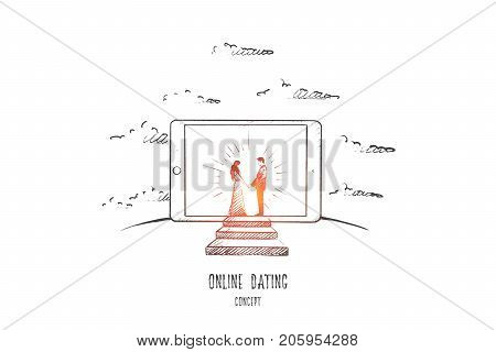 Online dating concept. Hand drawn man and woman in love. Dating in internet isolated vector illustration.