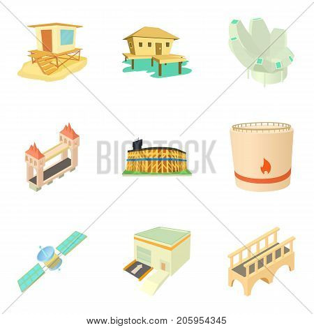 Outskirt icons set. Cartoon set of 9 outskirt vector icons for web isolated on white background