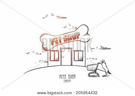 Pets shop concept. Hand drawn shop for animals. Dog with supermarket trolley isolated vector illustration.