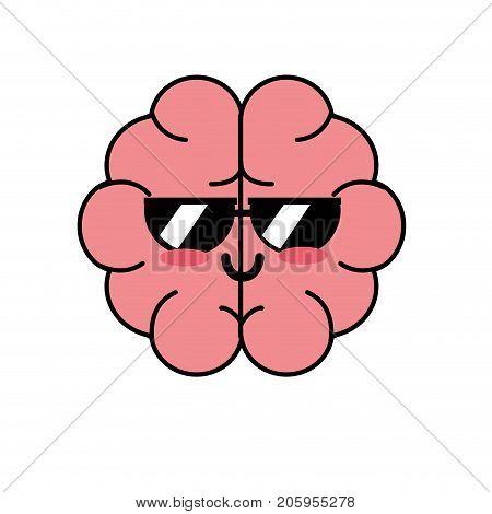 kawaii cute funny brain anatomy organ vector illustration