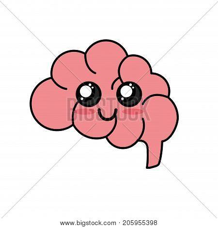 kawaii cute happy side brain vector illustration