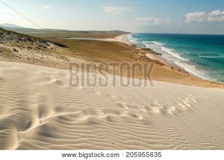 Human Footprints On The White Sand Of Deleisha Beach