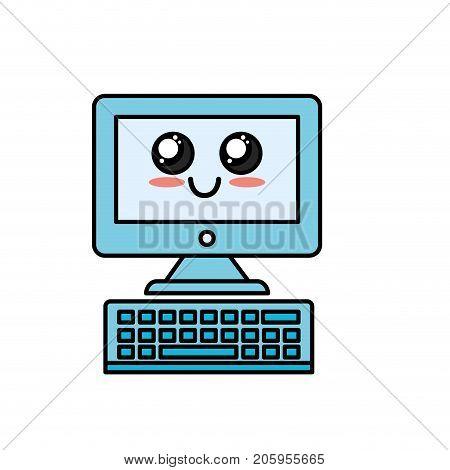 kawaii cute happy computer technology vector illustration
