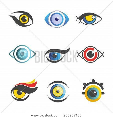 Fantastic eyes of unusual color and shape for imaginary male and female cartoon characters with long lashes, bright iris and small pupil isolated flat vector illustrations set on white background.