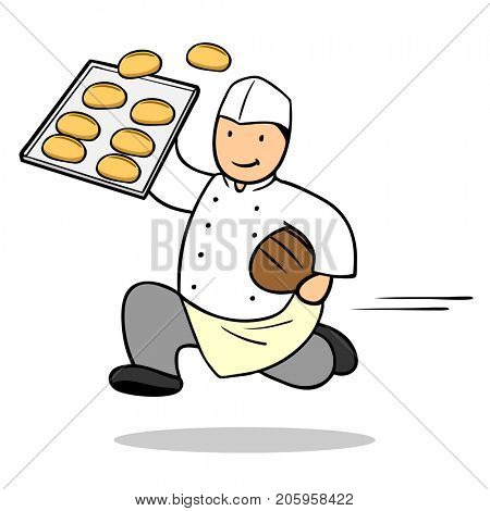 Baker bread delivery concept with buns and biscuits on a trade