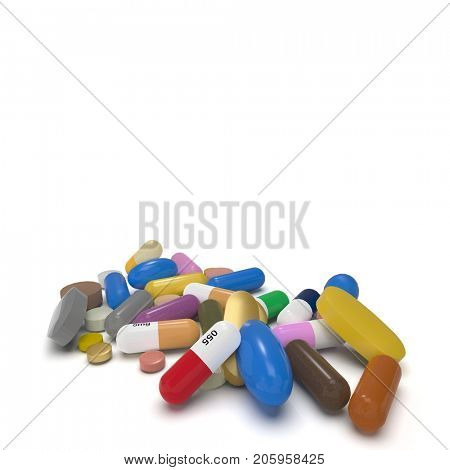 multicolor pills isolated on white background 3d rendering
