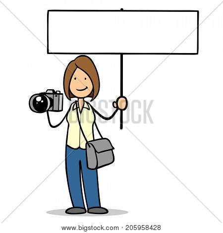 Woman as photographer holds blank sign for advertising