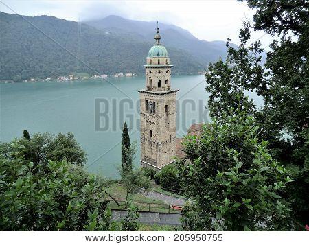 Church of Santa Maria del Sasso, Morcote, and Lake Lugano, Ticino, Switzerland