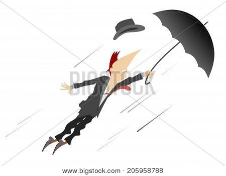 Young man, umbrella and windy day isolated. Young man being gone with the wind trying to hold an umbrella