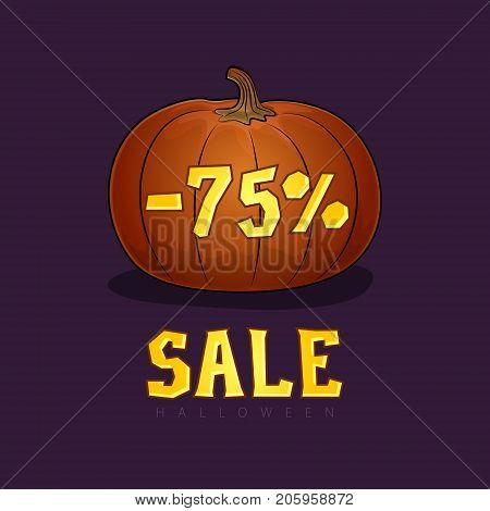Pumpkin with a Discount 75 Percent, Halloween Sale, Banner with Discounts Digits for the Holiday, Vector Illustration