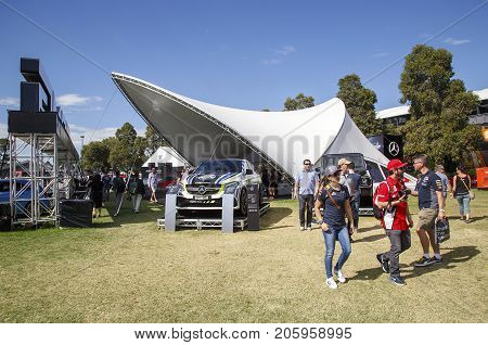 Melbourne, Australia: March 25, 2017: Mercedes AMG cars on display at Melbourne's Albert Park. Car enthusiasts look admiringly at the super car