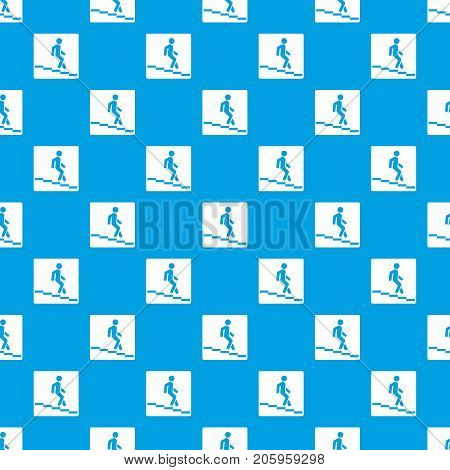 Underpass road sign pattern repeat seamless in blue color for any design. Vector geometric illustration