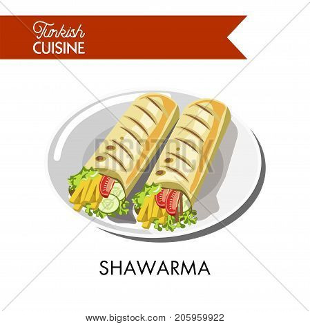 Delicious Turkish shawarma with fresh vegetables and cheese wrapped in pita bread served on shiny plate isolated cartoon flat vector illustration on white background. Unusual foreign cuisine dish.