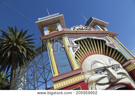 Melbourne, Australia: March 13, 2017: Main Gate of Luna Park. Melbourne's Luna Park is a historic amusement park located on the foreshore of Port Phillip Bay in St Kilda.
