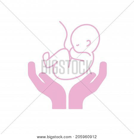 silhouette baby umbilical cord and new life vector illustration