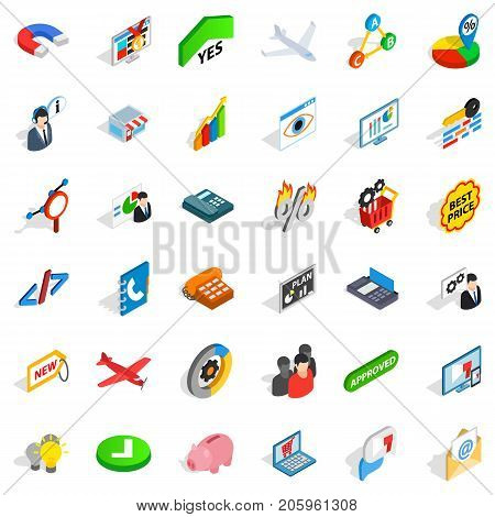 Approved icons set. Isometric style of 36 approved vector icons for web isolated on white background