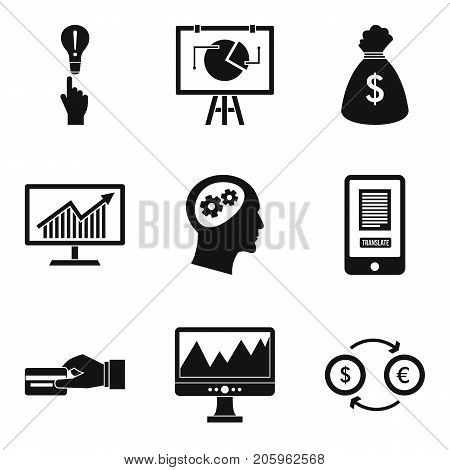 Financial calculation icons set. Simple set of 9 financial calculation vector icons for web isolated on white background