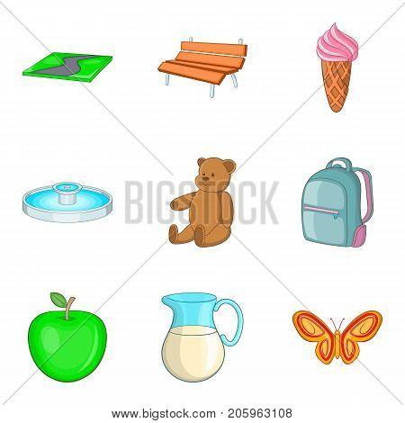 Child paddock icons set. Cartoon set of 9 child paddock vector icons for web isolated on white background