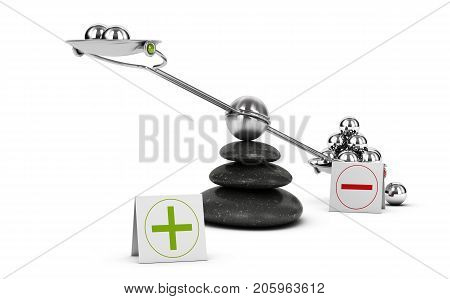 Seesaw containing metal spheres inclined on the negative side. Concept of Pros and cons analysis over white background. 3D illustration