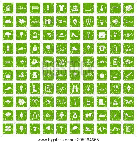 100 spring icons set in grunge style green color isolated on white background vector illustration