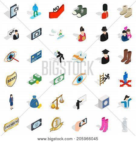 Romance icons set. Isometric style of 36 romance vector icons for web isolated on white background