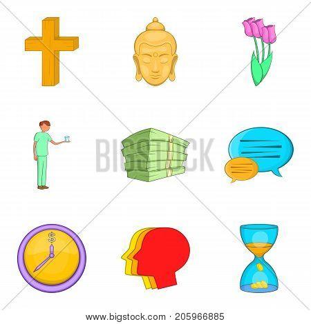 Indulgence icons set. Cartoon set of 9 indulgence vector icons for web isolated on white background