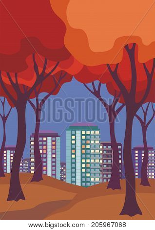 Abstract image of the autumn trees and city. Beautiful landscape. Vector background for design presentations, brochures, web sites and banners.
